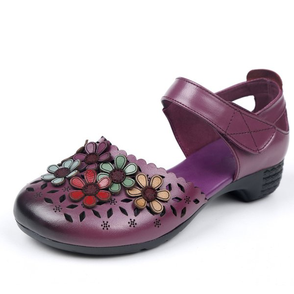 Summer Women Sandals New Flat Genuine Leather Women's Shoes Sandals Vintage Handmade Ethnic Style Ladies Shoes