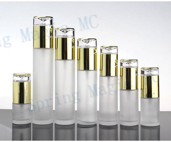 Botella de emulsión de vidrio esmerilado con bomba / pulverizador de oro, envase para el cuidado de la piel, perfume / loción / esencia / viales de base