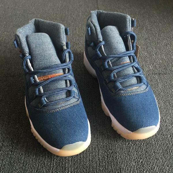 Высокое качество Jumpman 11 11s NRG Denim LS Blue Jeans Баскетбольная обувь Мужчины 11 Синие джинсовые кроссовки Новый размер 40-47