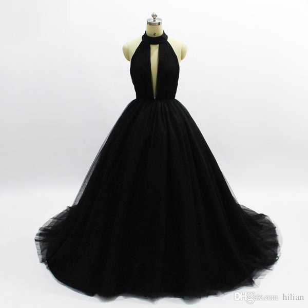 Black Full Length Halter V neck Backless Long Prom Dress Long Party Gown Evening Dress Mermaid Prom Dresses For party Formal Occasion