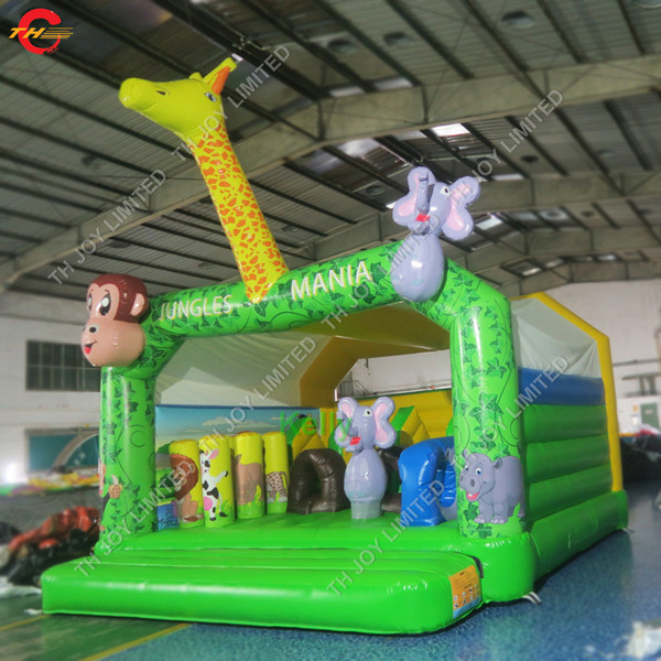 cheap jungle animal inflatable bouncer moonwalk monkey giraffe elephant inflatable bounce house jumping house bouncy castle