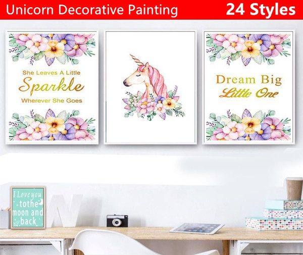 Hot-selling Various sizes Unicorn decorative painting Poster wall stickers Cartoon Cartoon Wall Decoration decor sticker 24 styles