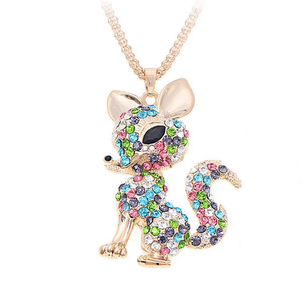 Collares de zorro Colgante Rhinestone Suéter Collar Animal Para Las Mujeres Joyería de Moda Collar de Cristal