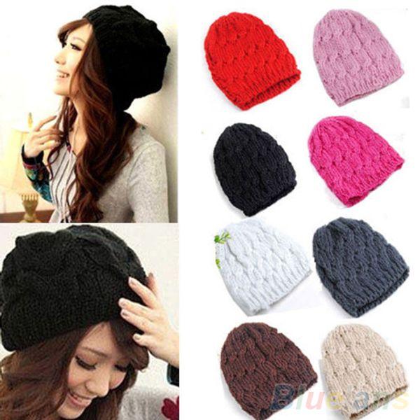 Bluelans HotWomen's Inverno Malha Crochet Tricô De Lã Trançado Baggy Beanie Ski Hat Cap