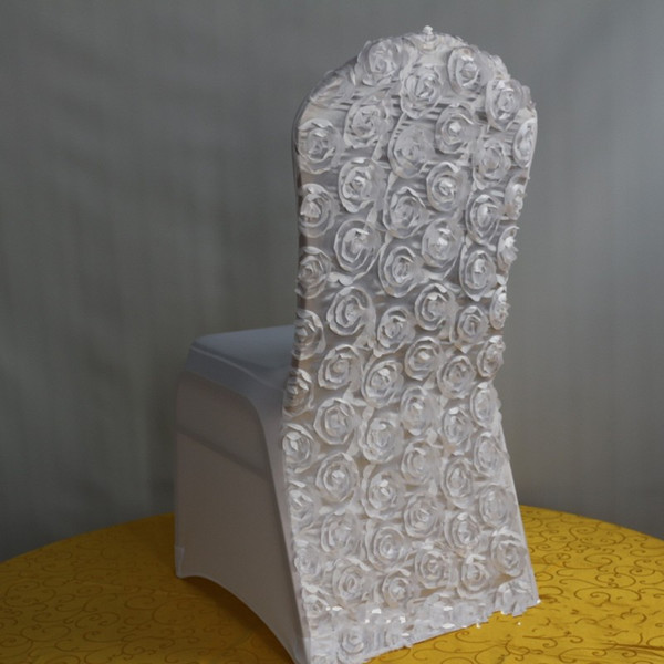 Universal White 3D Rose Wedding Party Chair Covers White spandex lycra chair cover for Wedding Party Banquet many color