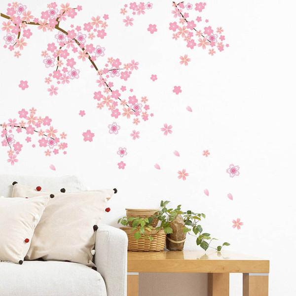 Pembe kelebek Çiçek Ağacı Duvar Sticker Çıkartmaları Kızlar Kadınlar Çiçek Duvar Vinil Duvar Kağıdı Ev Oturma Odası Yatak Odası Dekor