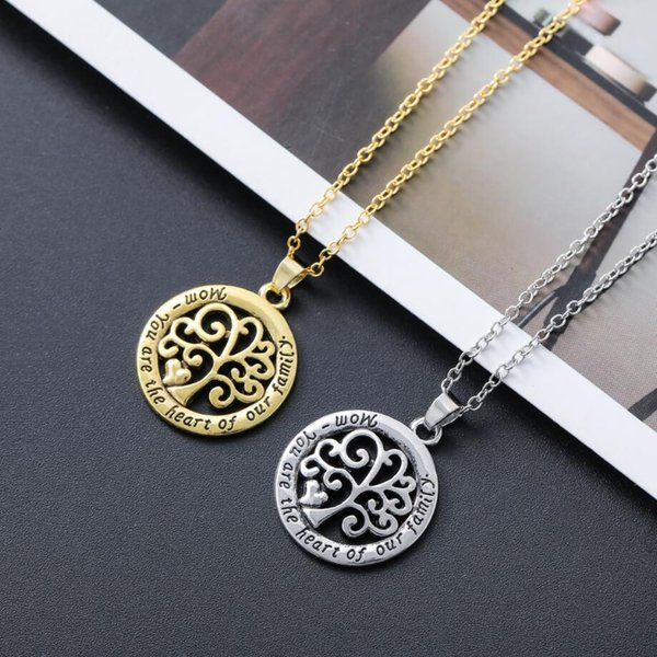 top popular Hot Mom You Are The Heart Of Our Family family Tree Of Life Chain Necklace Fashion Pendant Necklaces N1663 24inches 2019