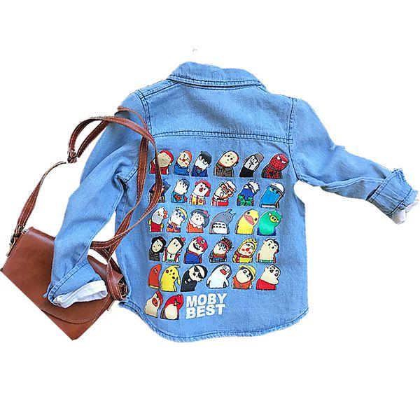 Compre Primavera Outono Dos Desenhos Animados Imprimir De Volta Colorido Snap Bebê Meninos Denim Jaquetas Crianças Casaco Crianças Tops Designer