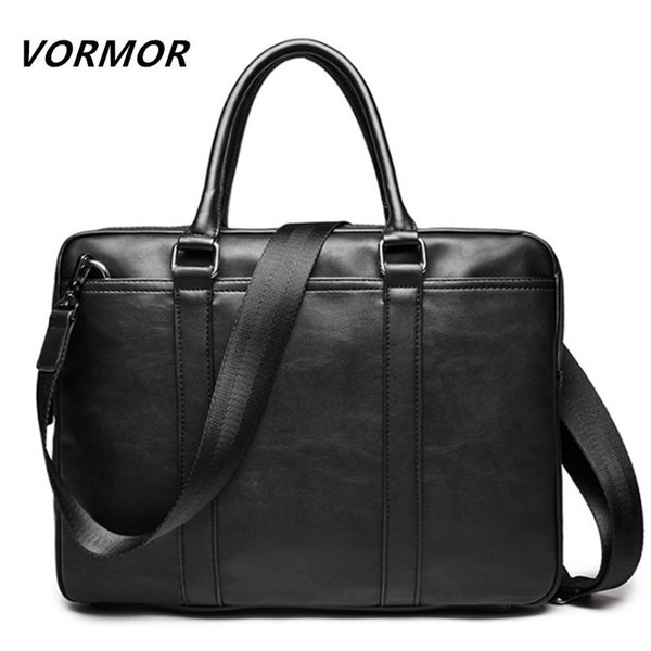 Vormor Promotion Simple Famous Brand Business Men Briefcase Bag Luxury Leather Laptop Bag Man Shoulder Bag Bolsa Maleta Y19051802