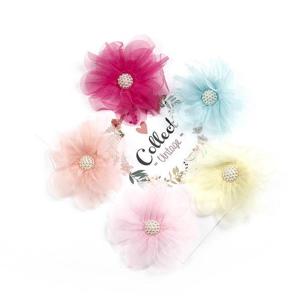 Hot sale chiffon flower girls hair clips large floral princess hair clips kids barrettes fashion designer hair accessories for kids A6463