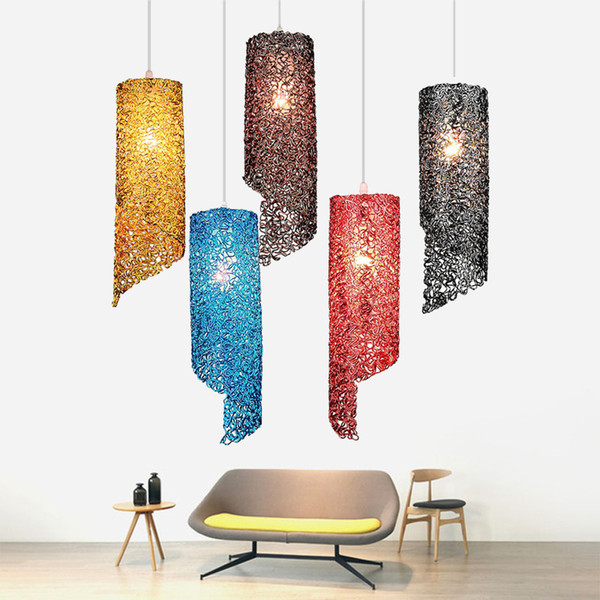 Modern yaratıcı renk E27 LED Sarkıt kişilik alüminyum Asmak lamba Kolye Işık Ev Aydınlatma Mutfak Armatürleri