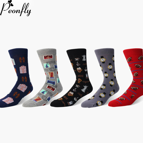 best selling Man Personality Printing Stamp Watch Coffee Beans Menswear Pattern Fashion Socks Casual Ventilation Cotton Sock 2pcs=1pairs