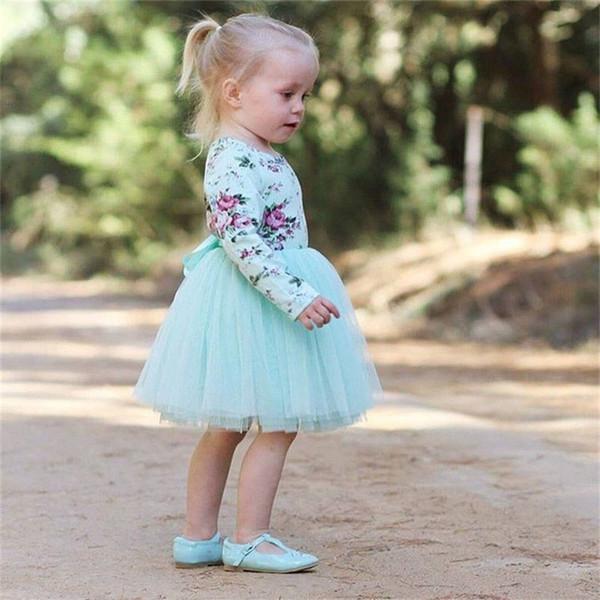Girl Dress 2018 New Summer Mesh Filles Vêtements Bleu Floral Princesse Pleine Manches Arc Tulle Robe Enfants Vêtements Bébé Filles