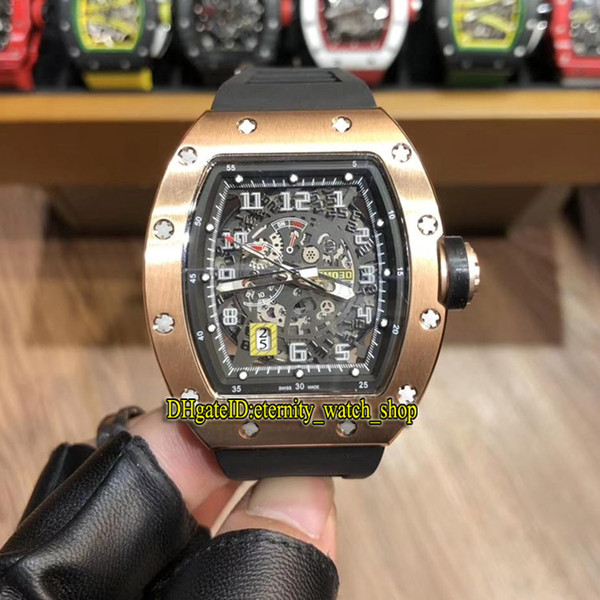 High Version RM 030 Skeleton Big Date Dial Japan Miyota Automatic RM030 Mens Watch Rose Gold 904L Steel Case Black Rubber Sport Watches