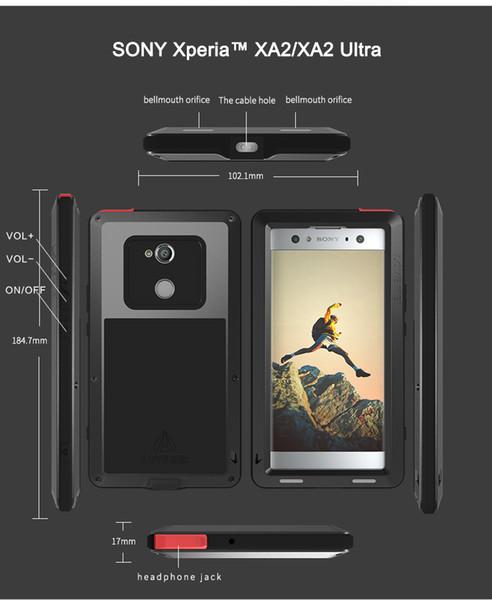 For Sony Xperia Xa2/ Xa2 Ultra Case Love Mei Shock Dirt Proof Water Resistant Metal Armor Cover Phone Case For Sony Xperia Xa2 J190701