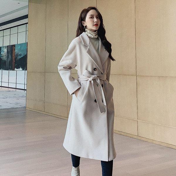 Anti Saison Clearance Manteau en laine Womens Casual longue section de style coréen 2019 automne et l'hiver des femmes populaires manteau de laine