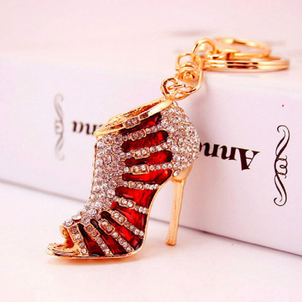 Creative cute diamond shoe car key chain for men and women Metal Pendant lady's bag accessories