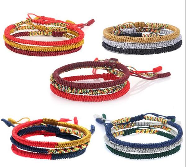 Ручная красная веревочка Тибетских браслеты тибетской буддийской Любовь талисман Сучка Тканых браслеты ювелирных изделия аксессуары GB1607