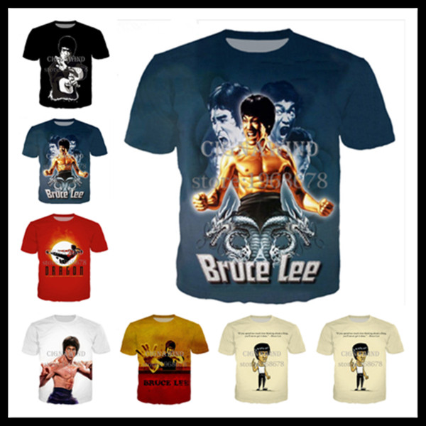 Fashion Style Martial Arts Superstar Bruce Lee Cosplay T-shirt 3D Print Men/Womens Unisex Summer Round Collar Short Sleeve Casual Tops K996
