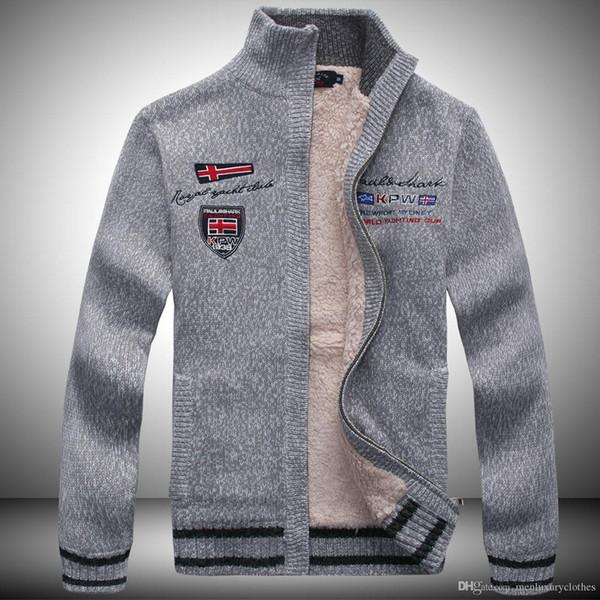 Chaquetas de suéter para hombre Abrigos de diseñador de cachemira de lana Invierno cálido Grueso TIBURÓN Impreso Caballeros Abrigos