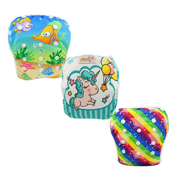 3PCS Ohbabyka Baby Swim Diapers Infant Boys Girls Swimwear Animal Unicorn Diapers for Swimming Waterproof Cloth Diaper Cover