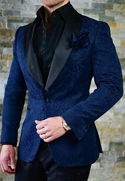 New Navy One Button Groom Tuxedos Men Suits Black Shawl Lapel Groomsmen 2 Piece Men Suits Wedding Prom Best Man Blazer ( Jacket+Pants+Tie)