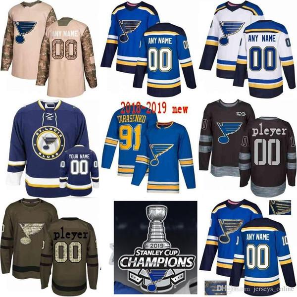2019 Stanley Cup Champions Custom Women Women Youth St. Louis Blues 91 Vladimir Tarasenko 27 Alex Pietrangelo Binnington maglie hockey