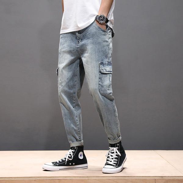 Fashion Cool Herren Jeans Harem Pockets Vintage Hellblau