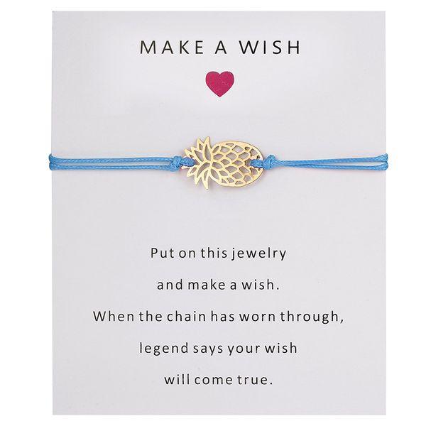 Bilden Sie einen Wunsch-Ananas-Armband-Frauen-Mann-guten Glücksbringer-Armband-Großhandelsfrucht-Armbänder Freies Verschiffen