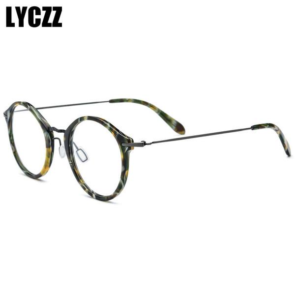 LYCZZ Rétro mode Femmes Jaune Rond Léopard Lunettes Cadre Vintage Clair Lentille Lunettes lady optique titane plaque lunettes