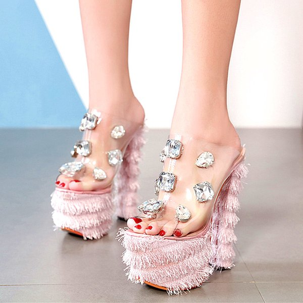 16cm Adorable pink rhinestone gem PVC transparent platform thick high heel luxury women designer shoes size 34 to 40