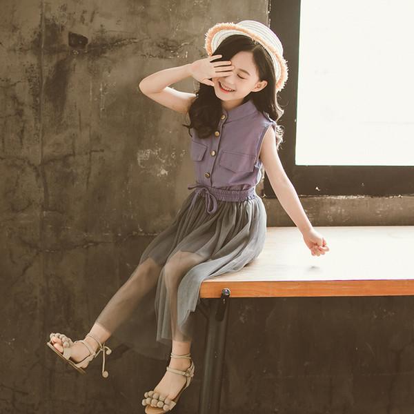 Summer new children's wear girls Korean fashion cotton and linen mesh skirt suit tide fan two-piece