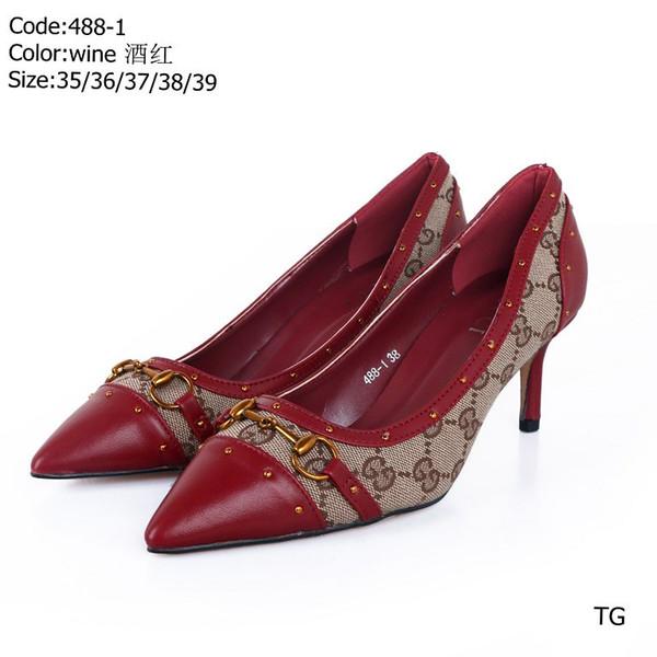 488 [Con CAJA] Estilo de diseñador de lujo de alta calidad Charol Tacones de emoción Mujeres Cartas únicas Sandalias Vestido Zapatos de boda Zapatos sexy 35-39