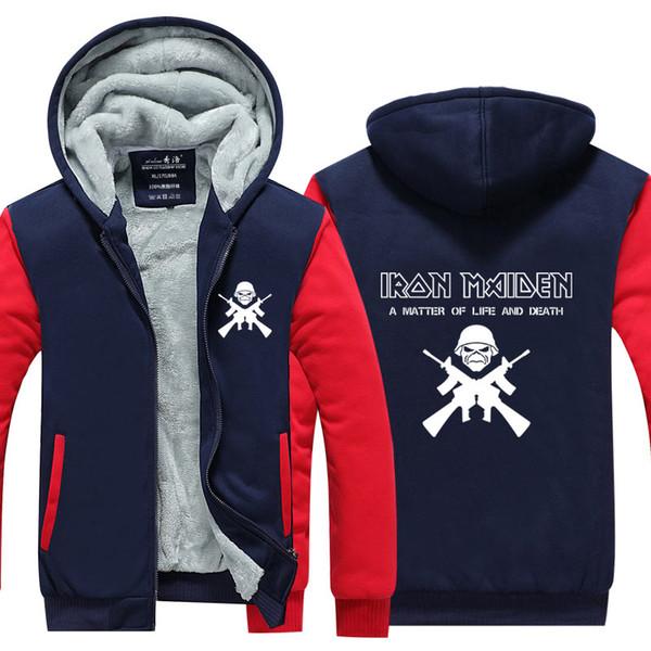 2019 Men Casual Thicken Hooded Sweatshirts Iron Maiden Print Cotton Zipper Hoodies Winter Cardigan Jacket Coat Pullover Tops USA EU Size From