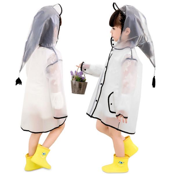 투명한 작은 소년 소년 베이비 어린이의 판초 방수 판쵸 바이저 레인 코트 비옷 어린이 비옷