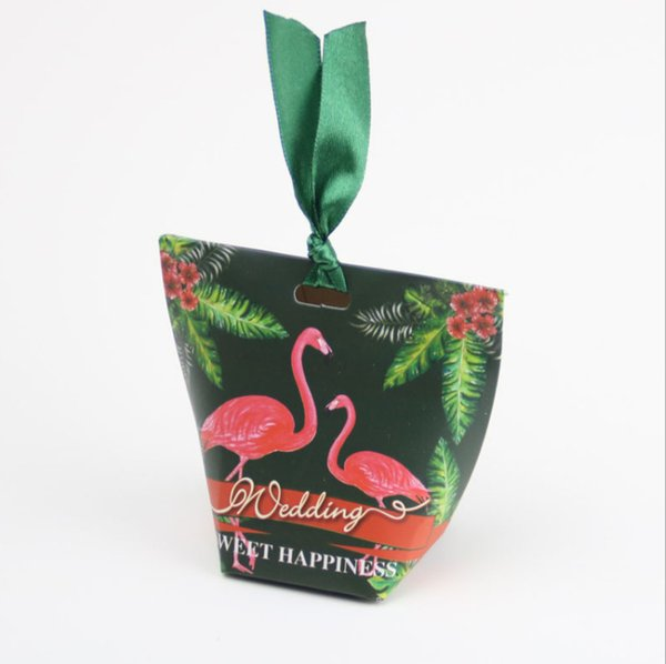 2019 Flamingos Pattern Wedding Favour Boxes Sweet Spring Flower Party Favor Candy Box With Ribbon Weeding Gift Bags