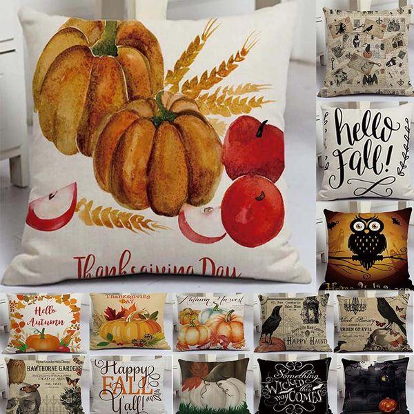 45x45cm Halloween Pumpkin Cushion Cover Ghosts Black Cat Printed Pillow Case Linen Throw Pillow Cushion Covers Home Decor