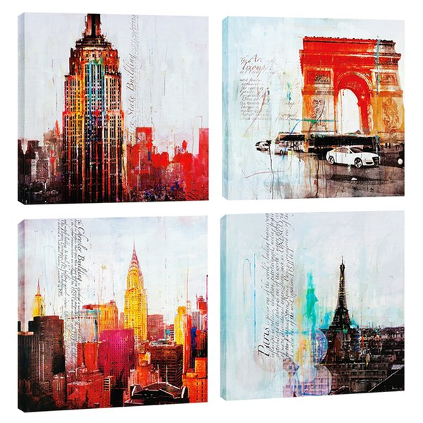 Amosi Art 4 Pieces Canvas Wall Art Abstract Famous City Print Landscape Painting Modern for Home Living Room Decoration Stretched Framed