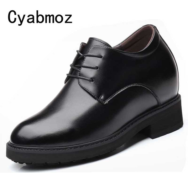 12 CM Extra High Elevator Shoes Men's Split Leather Height Increasing Casual Business Shoes Hidden Wedge Heel Male Wedding Shoes