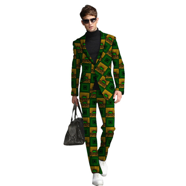 New fashion street wear African clothes men's suits dashiki man printed pant suits for wedding formal traditional clothing