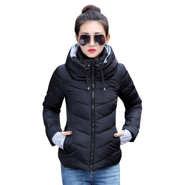 2019 зимняя куртка женщин плюс размер женские парки сгущает верхняя одежда твердые пальто с капюшоном короткие женские тонкие хлопка мягкие основные топы