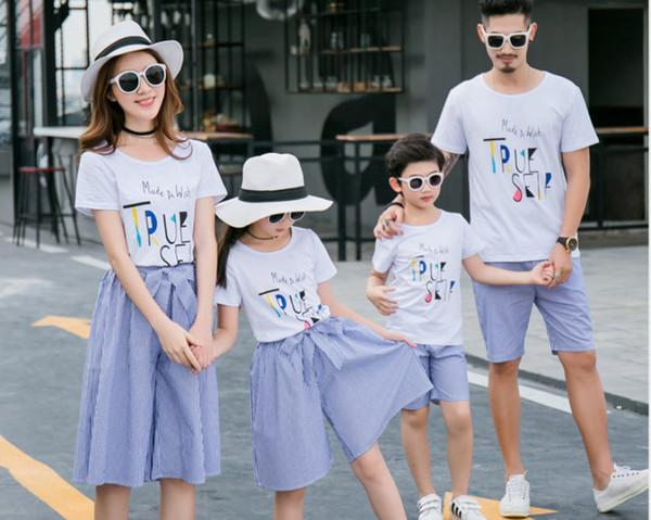 ac09bfa4 Men Boy Short Sleeved Shirt Parent Wear Family Stripe Mother Daughter Skirt  Suit