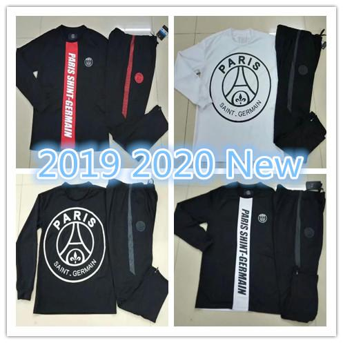 New MBAPPE PSG black White football tracksuits JACKET 2019 2020 Paris Champions League Saint Germain Soccer tracksuit 19 20 training suit