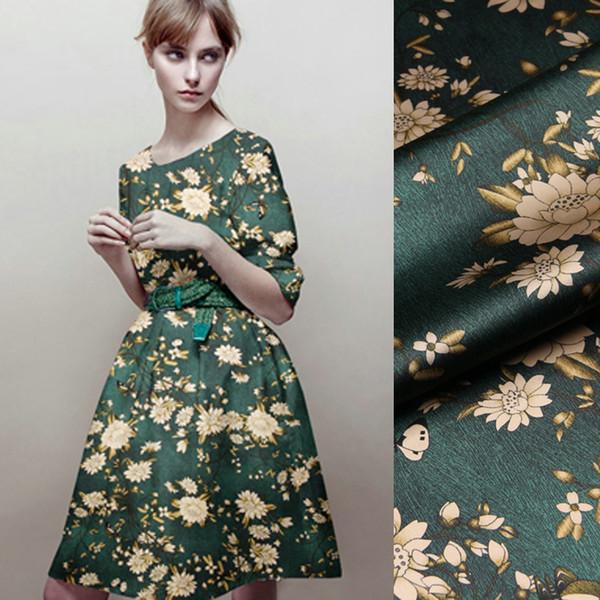 118CM Wide 19MM 93% Silk & 7% Spandex Lotus Print Stretch Dark Green Silk Satin Fabric for Dress Cheongsam Jacket D1025