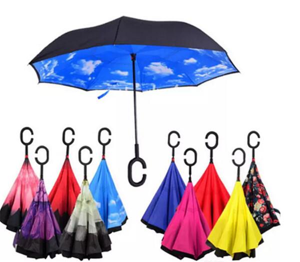 Großhandels-schnelles Verschiffen kreative umgekehrte Regenschirme doppelte Schicht mit C-Griff Inside Out Reverse Windproof Umbrella 34 Farben