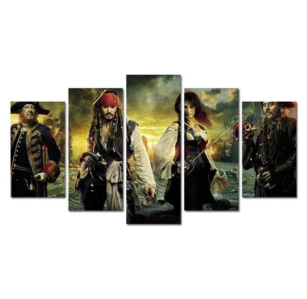 Kaptan Jack Sparrow-7, 5 Parça Ev Dekor HD Baskılı Modern Sanat Boyama Tuval üzerine (Çerçevesiz / Çerçeveli)