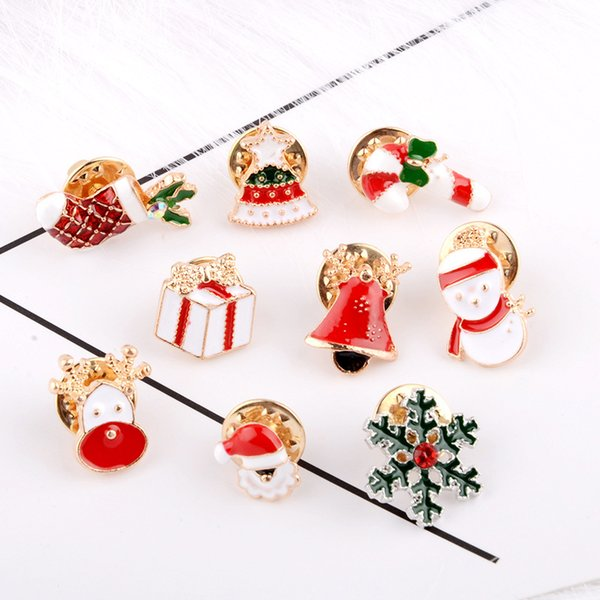New Year Fashion Christmas Boots Brooch Santa Claus Snowflake Brooch Jewelry/ Christmas Color Stone Brooch accessories jewelry 10pcs/lot
