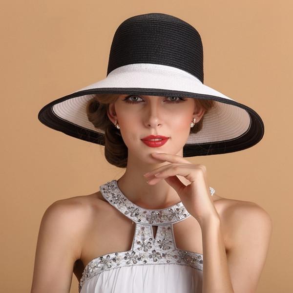 Chapeaux fedora en papier de qualité supérieure pour dames à large bord plage chapeau femmes été grâce chapeau de paille chapeau
