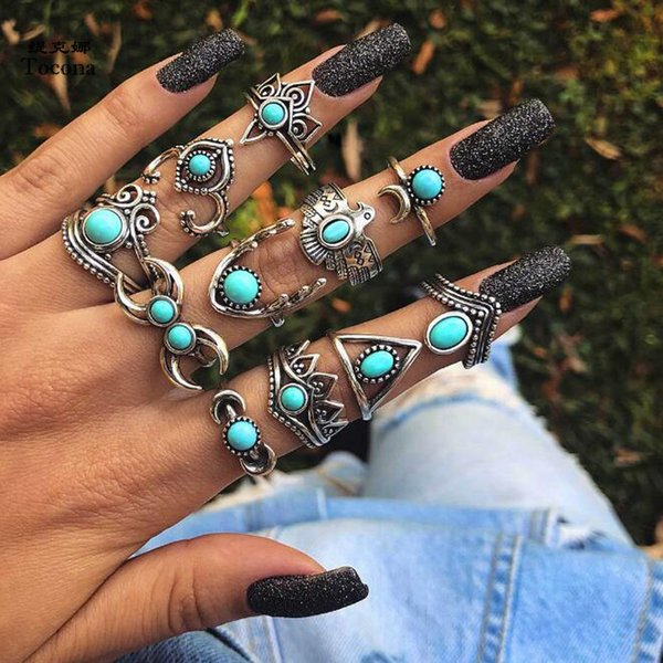 2019 11pcs/Set Vintage Antique Silver Eagle Deer Moon Crown Finger Midi Knuckle Rings Set for Women Bohemia Jewelry Punk Rings Sets