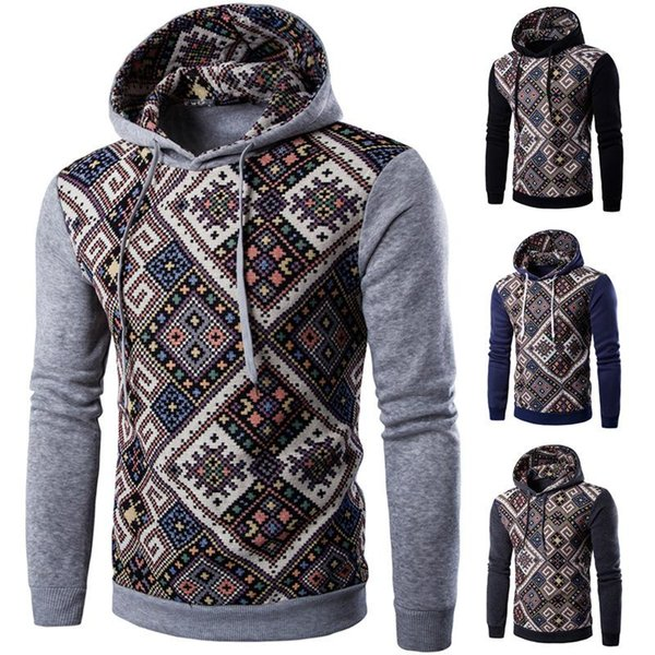 Men's jacket men folk style leisure color sweater coat sleeve head baseball hat with hooded cardigan